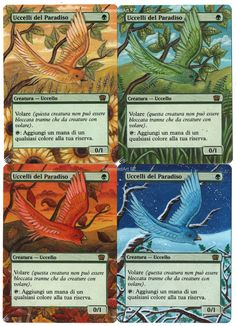 x4 Birds of Paradise, Artwork: season by FZ, Magic: The Gathering, Altered Art by FZ