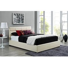 Modena Full Faux Leather Upholstered Bed With Headboard Creme