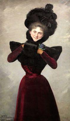 Francine Charderon - Femme élégante avec manchon de fourrure, 1899. love D'Artagnan.
