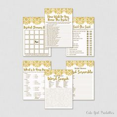 Bridal Shower Game - Bridal Shower Games - Bridal Shower - Instant Download - Printable Games - Six Games 0010G