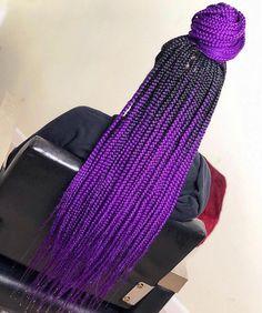 85 Box Braids Hairstyles for Black Women - Hairstyles Trends Purple Box Braids, Ombre Box Braids, Colored Box Braids, Short Box Braids, Black Girl Braids, Braids For Black Hair, Braids With Color, Purple Hair, Short Hair