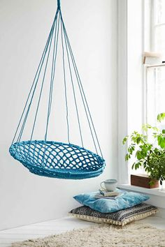 Hanging Basket Swing Chair In Blue   Urban Outfitters