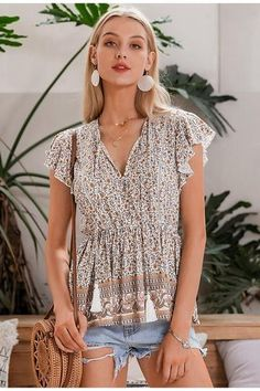 Women Floral Print Sexy Long Sleeve V-neck Hollow Out Summer Ruffled W – Simplee