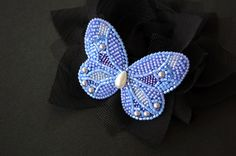 Bead embroidery butterfly brooch. MADE TO ORDER. by XeniaArtStudio
