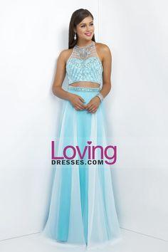 2016 Two-Piece Halter A Line Prom Dresses Chiffon
