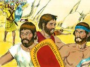 Free Bible illustrations at Free Bible images of the Israelites' struggle against the Amalekites as Moses prays. (Exodus 17:18-16)