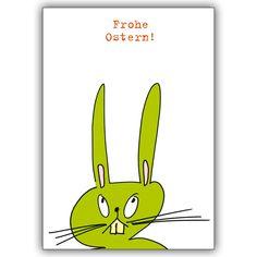 Lustige Oster Klappkarte mit Spruch und grünem Osterhasen 1