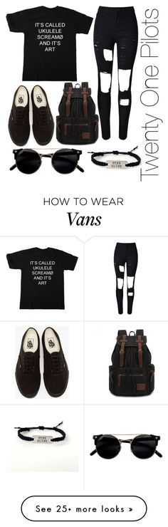 """Twenty One Pilots Merchandise"" by laurenholms on Polyvore featuring WithChic and Vans"