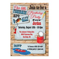 Rustic Fishing Birthday Party Twins Invitations