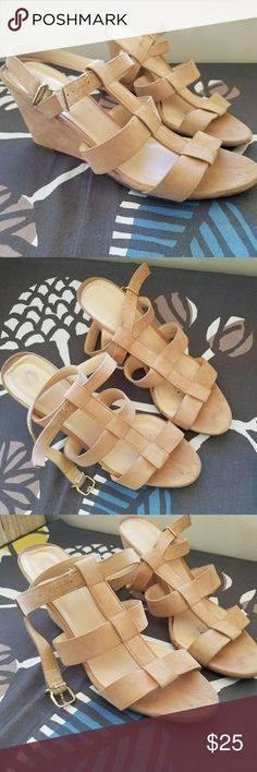 J.crew suede Olympia wedge heeled sandals Real suede Jcrew wedges with a 2.5 in heel. Worn but in good condition. Love them but they are a tad small, I'm a 10. Older model Jcrew, but they are made in Italy and very high quality. J. Crew Shoes Sandals