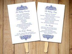 "Wedding Fan Program Template - Printable Ceremony Program - ""Cella"" Nautical Wedding Program Favor - Navy Blue Program - Order of Service by PaintTheDayDesigns"