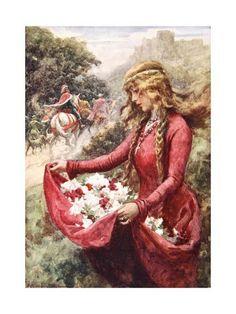 f202 Old Masters Reprint Lady in a Garden Edmund Blair Leighton