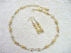 OOAK Vintage Golden PEARL Crystal Rhinestone by ElegantiTesori