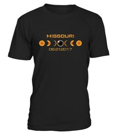 Get ready for the Great American total solar eclipse on August 21, 2017. This cool tee is perfect for a Missouri eclipse viewing party with a design that features a dark silhouette of the moon obscuring the sun with an orange glow.   The path of the eclipse travels coast to coast across the United States and if you are in Missouri, on the 21st of August, 2017, you will experience total darkness. This shirt makes an awesome gift for eclipse lovers, astronomers, kids and adults.