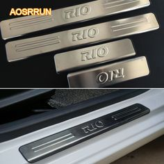 sale aosrrun freeshipping stainless steel door sill scuff plate car accessories for kia rio sedan #interior #doors