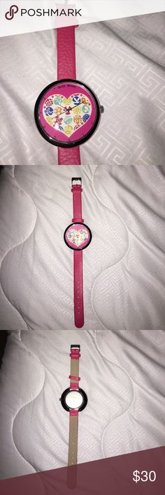 Lucky Brand watch Never used. Perfect conditions the only thing is it needs its batteries replaced because it stopped working. Hot pink and stainless steel back Lucky Brand Accessories Watches