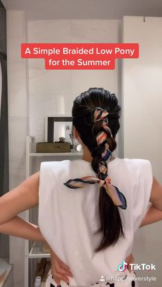 Scarf Hairstyles, Summer Hairstyles, Pretty Hairstyles, Easy Hairstyles, Hairstyle Ideas, Beach Hairstyles Medium, Low Pony Hairstyles, Hair Scarf Styles, Hair Up Styles