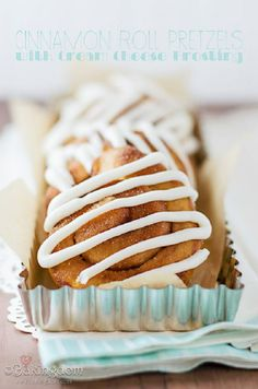 #Cinnamon Roll Pretzels with Cream Cheese #Frosting 15 Pretzel Recipes | Yummy #Recipes