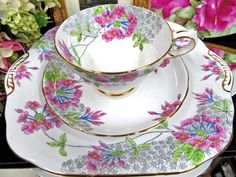 Grosvenor tea cup and saucer plus cake plate floral and