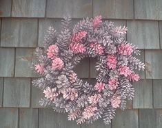 Rustic wreath Maine Living Cabin decor  Thes wreath is simply perfect. Fresh Maine pinecones, wire ( no hot glue!) To a sturdy metal frame. Messuring 24 incjes from side to side. I can do different bows, and any color you can dream up!  No two are exactly alike. Best for sheltered area.
