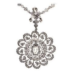 Diamond Platinum Filigree Pendant Necklace