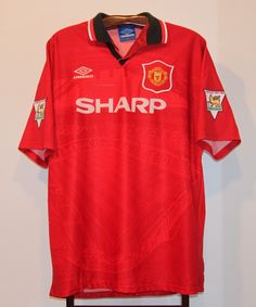 Manchester United Home football shirt 1996 Football Uniforms, Football Kits, Manchester United, Polo Shirt, Polo Ralph Lauren, The Unit, Sports, Mens Tops, Football Shirts