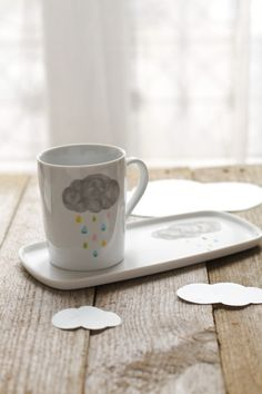 cloud & raindrops porcelain by Asleep from Day