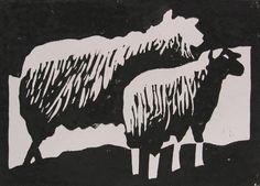 linosnede schapen afdruk linoleum snijden gutsen.  Ik vind deze heel mooi omdat de ene helft in het wit en de ene helft in het zwart is gedaan. Echt heel gaaf gedaan.