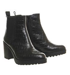 Vagabond Grace Heeled Chelsea Boots Black Croc Leather Exclusive - Ankle Boots