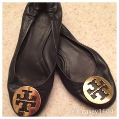 Tory Burch Reva Flats Dark Navy Tory Burch Reva Flats with gold emblem. Super cute and classic . You can wear all seasons year round . Tory Burch Shoes