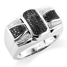 This Bowtie Black Diamond Ring for Men in sterling silver showcases 0.30 carats of round diamonds and a luxurious rhodium plating for extra shine. This men's silver diamond ring is an affordable alternative to expensive gold jewelry.