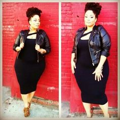 Plus size lil black dress goes bad ass when you throw on a cropped leather jacket - love it! Curvy Girl Fashion, Look Fashion, Plus Size Fashion, Womens Fashion, Petite Fashion, Fashion Bags, Trendy Fashion, Fall Fashion, Fashion Outfits