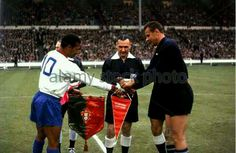 Portugal 2 USSR 1 in 1966 at Wembley. The captains, Mario Coluna and Lev Yashin, meet before the 3rd place play-off at the World Cup Finals.