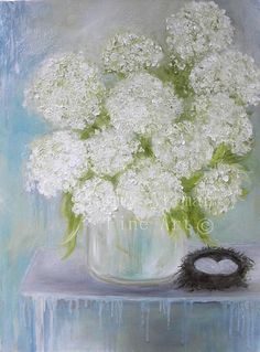 Oil Painting, White Hydrangea Impasto Oil Painting, Fine Art Oil Painting, White Hydrangeas, Wedding, Home Decor, Fine Art