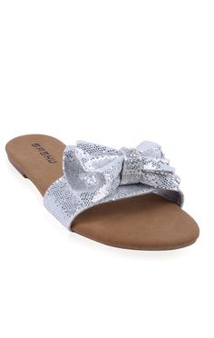 Ohhh I LOVE This Flat sandal with glitter bow top and stone center