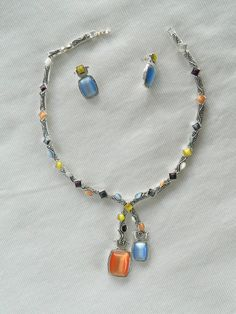 Chunky Necklace & Pierced Earring Set Silver Tone Glass Bead Multi Color Blue