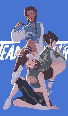 Katara, Toph, and Suki Avatar: the Last Airbender Nickelodeon Avatar Airbender, Avatar Aang, Suki Avatar, Team Avatar, Zuko And Katara, Character Inspiration, Character Art, Character Design, Anime Characters