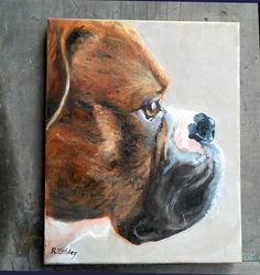 Boxer Dog Pet Portrait Painting oils on by CustomPortraitArt, $250.00... beautiful profile, but it's missing the huge saliva bubbles :)