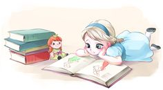 Elsa reading with her Anna doll.