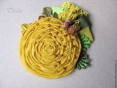 """Купить """"Череда"""" брошь бохо желтая цветок - броши, брошь натуральные камни, брошь с камнями"""