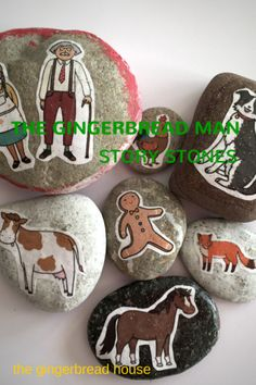 The gingerbread man story stones - the gingerbread house {Reading Comprehension Idea--retelling a story} Gingerbread Man Story, Gingerbread Man Activities, Christmas Gingerbread, Kids Christmas, Kindergarten Christmas, Teaching Kindergarten, Traditional Tales, Traditional Stories, Story Retell