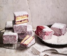 Not your average lamingtons, these gluten-free favourites use berry jam on the outside instead of chocolate icing. Chocolate Mousse Recipe, Chocolate Icing, Gluten Free Chocolate, Chocolate Recipes, Chocolate Brownies, Gluten Free Icing, Checkerboard Cake, Coconut Tart, Raspberry Cheesecake