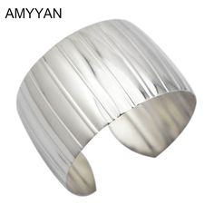 Shiny Smooth Feeling Silver Opened Cuff Bracelet Bangles Exaggerate Wide 316l Stainless Steel Bracelet Blank Cuff Jewelry