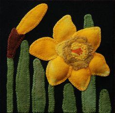 Wool applique PATTERN Daffodils 6x6 block by HorseAndBuggyCountry