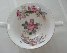 Gorgeous Wedgwood Charnwood Double Handled Cream Soup Bowl, Scarce, made in England, English Bone China
