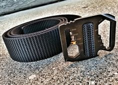If MacGyver were around today this is the belt he would wear. The Bison Designs Kool Tool belt. The Cr13-steel buckle is secured to black 44mm ribbed webbing. The buckle features three wire strippers in varying sizes, large and small flat head screwdrivers, a Phillips head, bottle opener, S.A.E. hex tool, standard and metric ruler, and metric hex tool. All on a good looking belt.