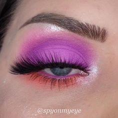 Gorgeous Lilac & Orange Vibrant Eye Look Tutorial Klaudia Kowalska Nottinghill Eyelashes Purple Makeup Looks, Purple Eye Makeup, Makeup Eye Looks, Creative Makeup Looks, Colorful Eye Makeup, Bright Eyeshadow, Purple Eyeshadow, Eyeshadow Looks, Eyeshadow Makeup