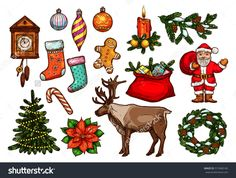Christmas And New Year Holiday Symbol Set. Sketched Santa, Gift Bag, Xmas Tree With Lights, Candy Cane, Pine Wreath, Candle, Bauble Ball, Stocking Sock, Gingerbread Man, Clock, Poinsettia And Reindeer Stock Vector Illustratie 515940145 : Shutterstock