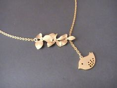 Bird Lariat Necklace Gold Orchid Necklace Gold by Crystalshadow