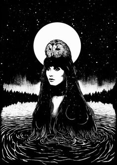 Woman and Owl ~ by Ignacio Serrano ('The Owl' symbolizes those who are wise enough and 'clear-sighted within' enough to SEE through, and in, the Darkness, A Wise Watcher..a Seer in Wild Silence. As th